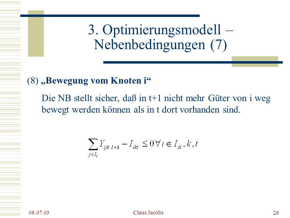 3. Optimierungsmodell – Nebenbedingungen (7)