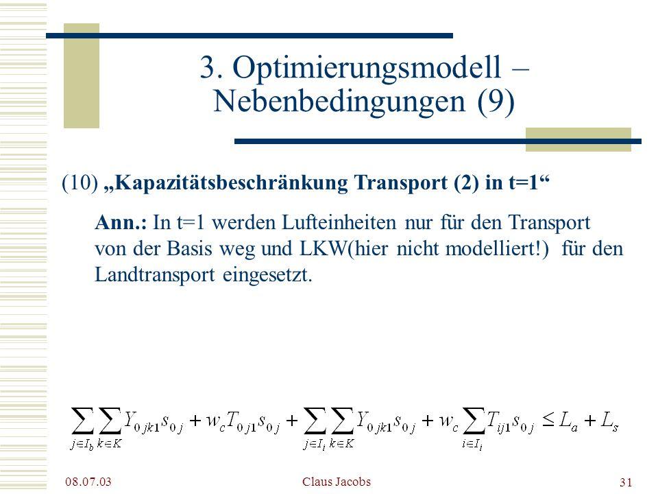 3. Optimierungsmodell – Nebenbedingungen (9)
