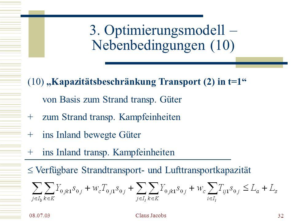 3. Optimierungsmodell – Nebenbedingungen (10)