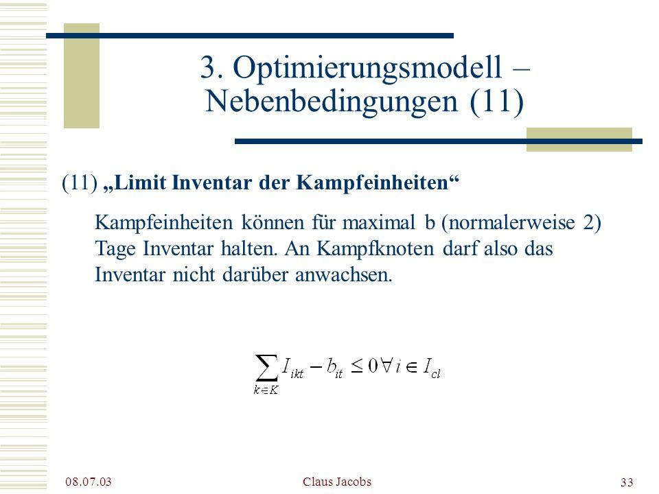 3. Optimierungsmodell – Nebenbedingungen (11)