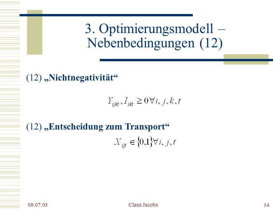 3. Optimierungsmodell – Nebenbedingungen (12)