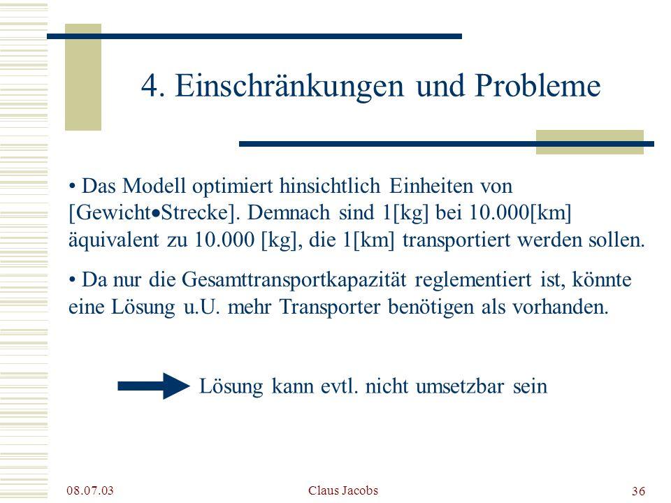 4. Einschränkungen und Probleme