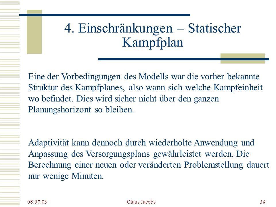 4. Einschränkungen – Statischer Kampfplan