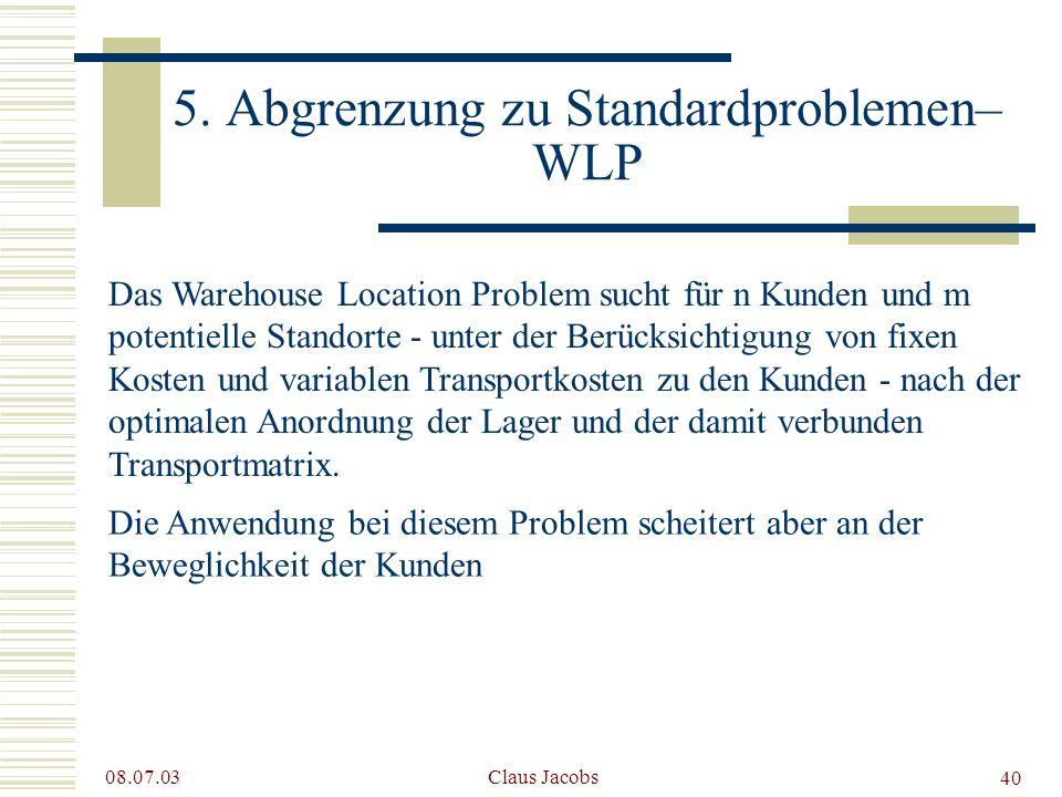 5. Abgrenzung zu Standardproblemen– WLP