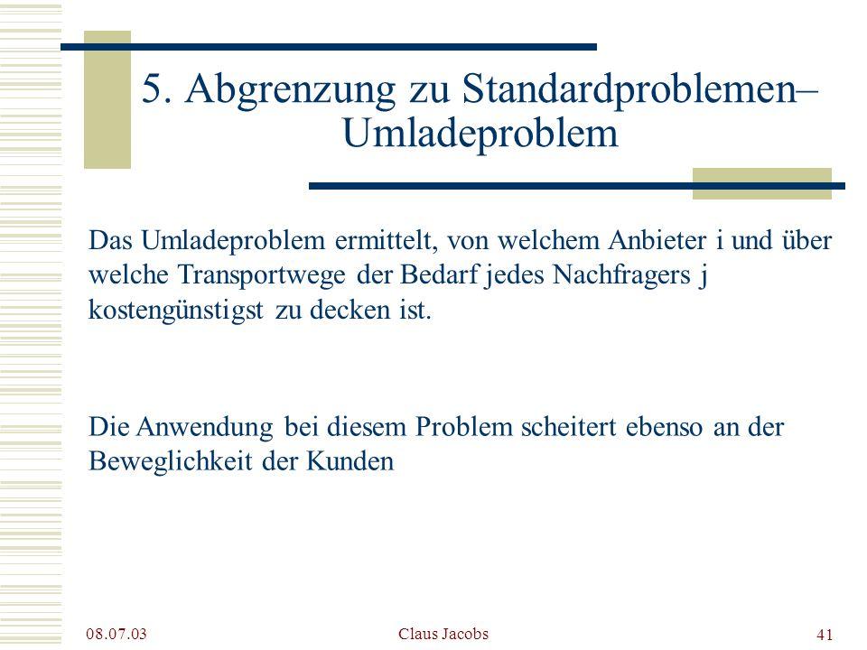 5. Abgrenzung zu Standardproblemen– Umladeproblem