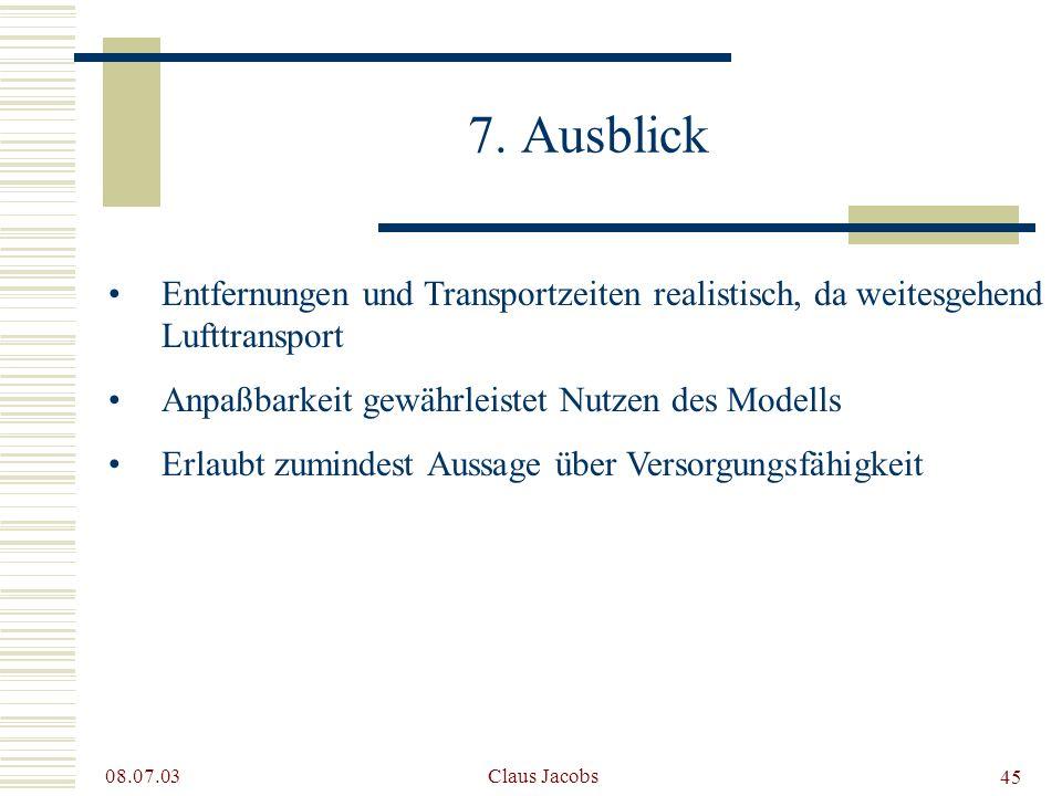 7. Ausblick Entfernungen und Transportzeiten realistisch, da weitesgehend Lufttransport. Anpaßbarkeit gewährleistet Nutzen des Modells.