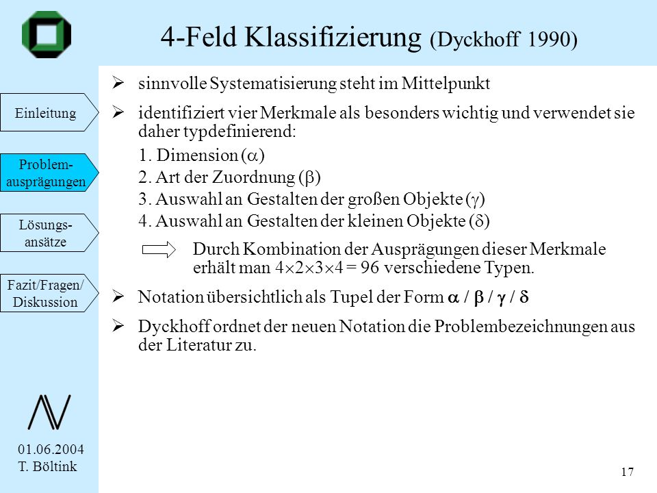 4-Feld Klassifizierung (Dyckhoff 1990)