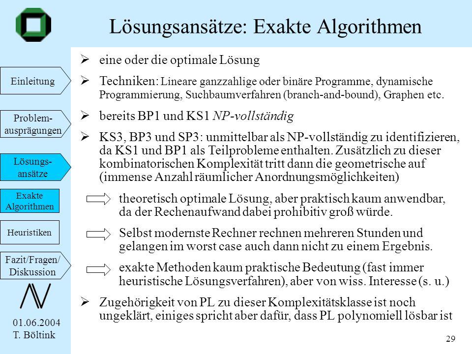 Lösungsansätze: Exakte Algorithmen