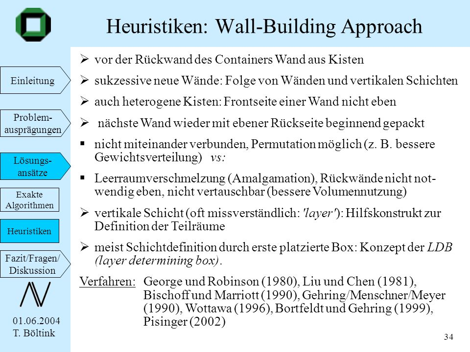 Heuristiken: Wall-Building Approach