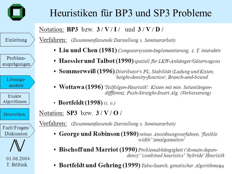 Heuristiken für BP3 und SP3 Probleme