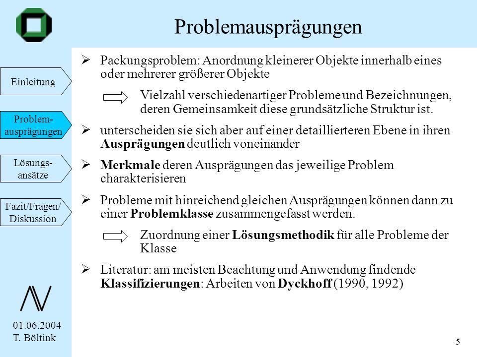 Problemausprägungen Packungsproblem: Anordnung kleinerer Objekte innerhalb eines oder mehrerer größerer Objekte.
