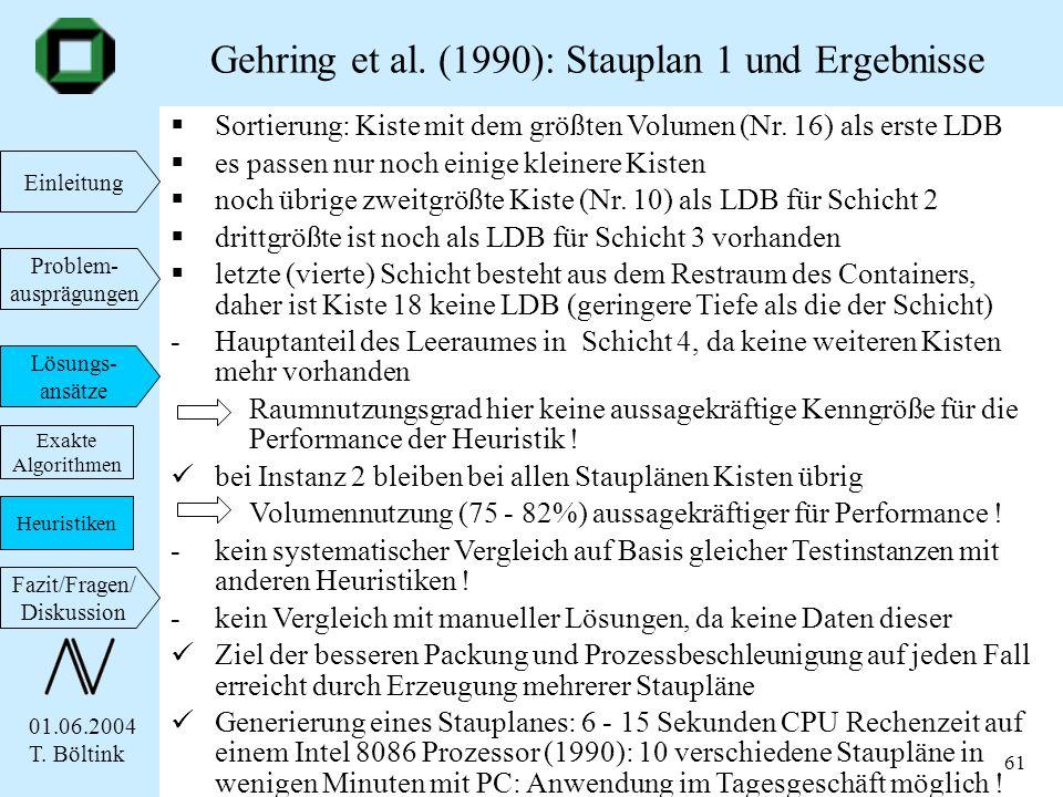 Gehring et al. (1990): Stauplan 1 und Ergebnisse