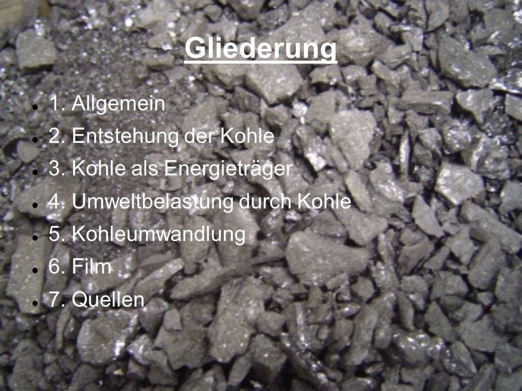 Gliederung 1. Allgemein 2. Entstehung der Kohle