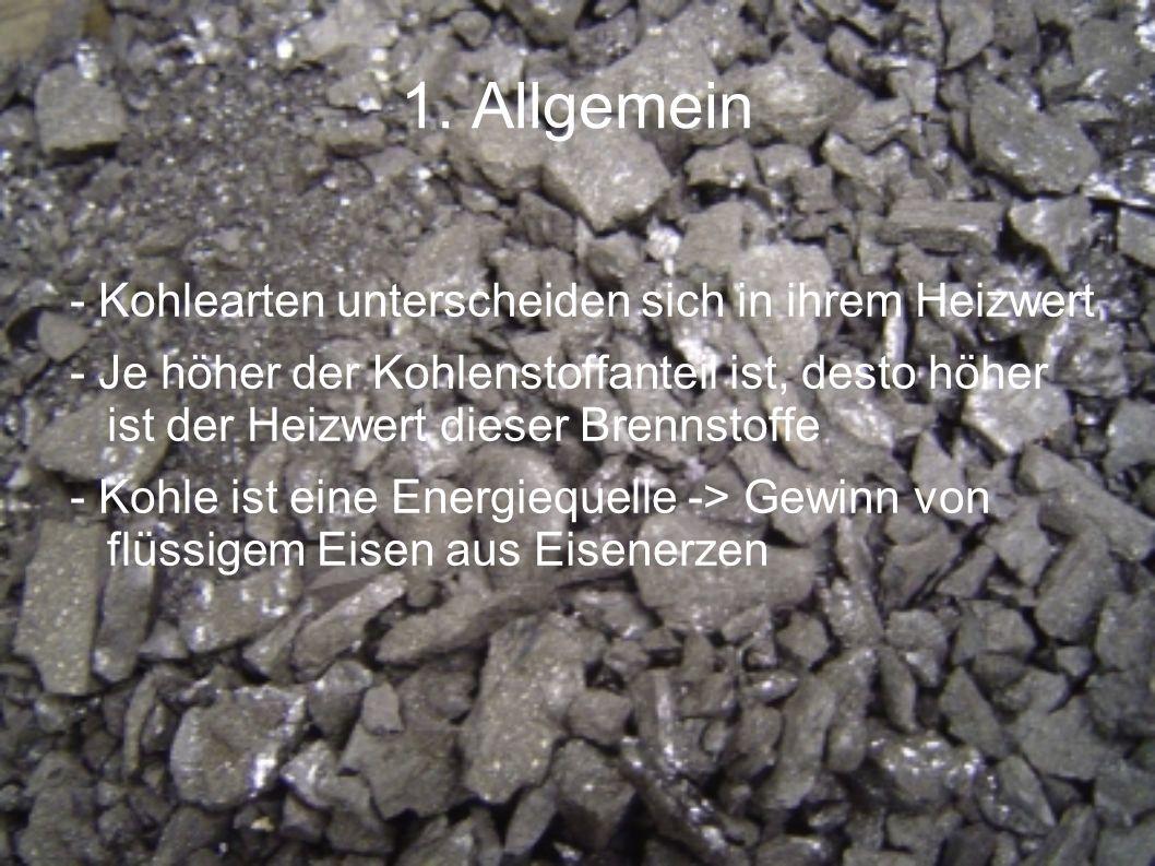 1. Allgemein - Kohlearten unterscheiden sich in ihrem Heizwert