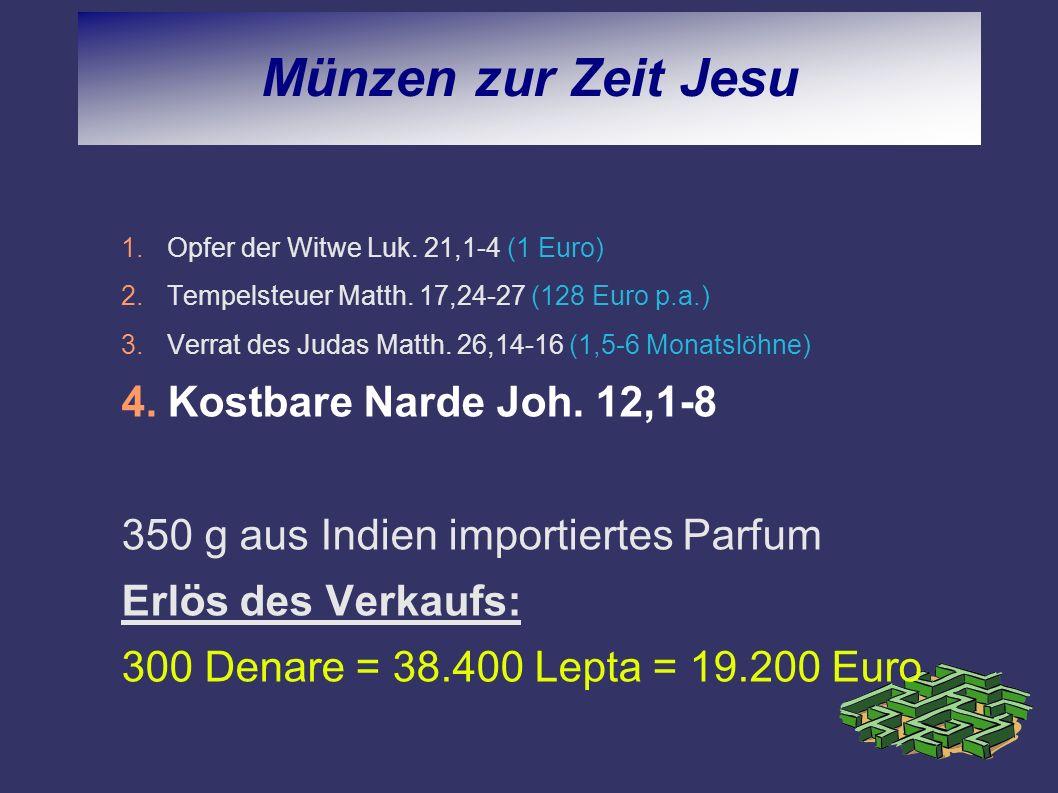 Münzen zur Zeit Jesu Kostbare Narde Joh. 12,1-8