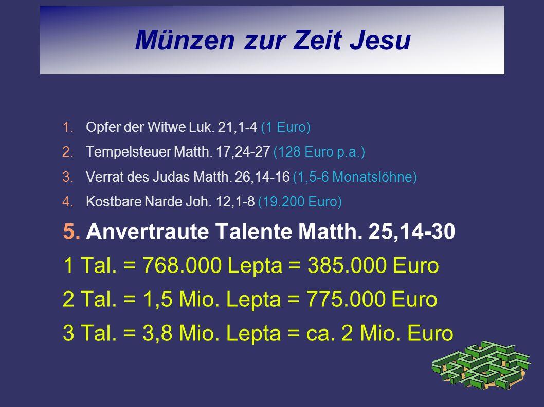 Münzen zur Zeit Jesu Anvertraute Talente Matth. 25,14-30