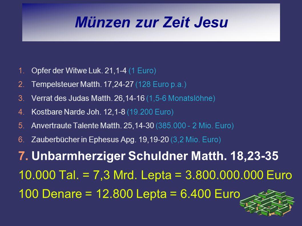 Münzen zur Zeit Jesu Unbarmherziger Schuldner Matth. 18,23-35