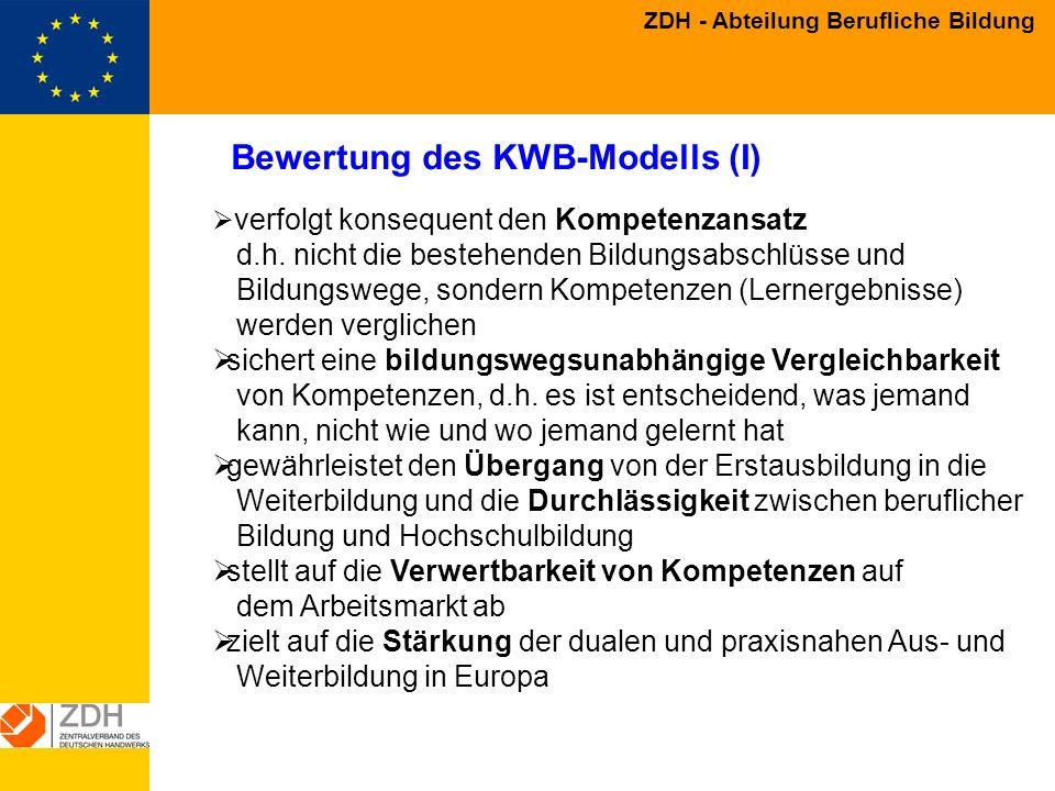 Bewertung des KWB-Modells (I)