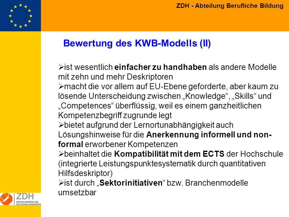 Bewertung des KWB-Modells (II)