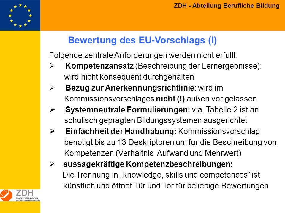 Bewertung des EU-Vorschlags (I)