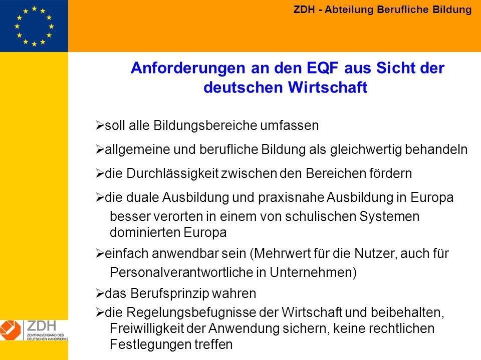 Anforderungen an den EQF aus Sicht der deutschen Wirtschaft