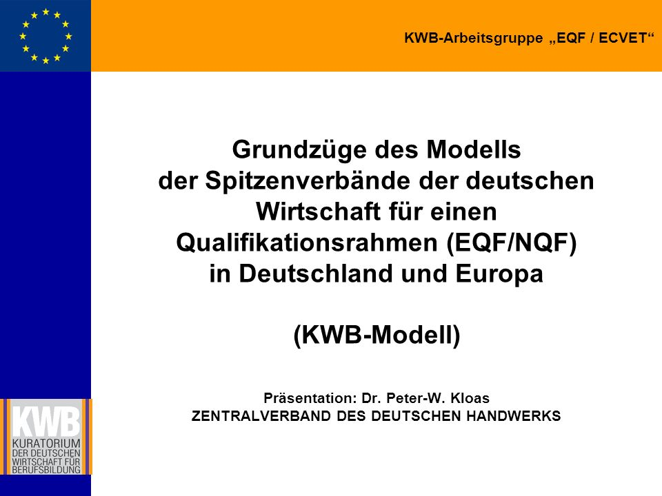 Grundzüge des Modells der Spitzenverbände der deutschen Wirtschaft für einen Qualifikationsrahmen (EQF/NQF) in Deutschland und Europa (KWB-Modell) Präsentation: Dr.