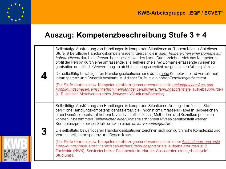 Auszug: Kompetenzbeschreibung Stufe 3 + 4