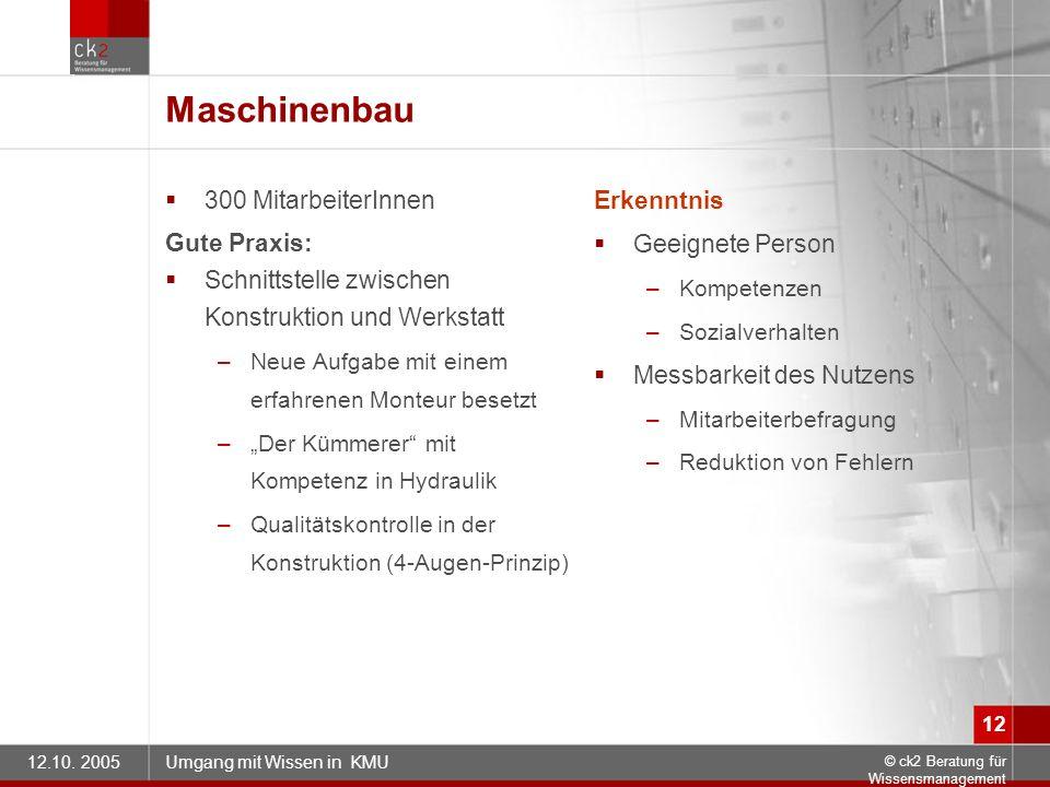 Maschinenbau 300 MitarbeiterInnen Gute Praxis: