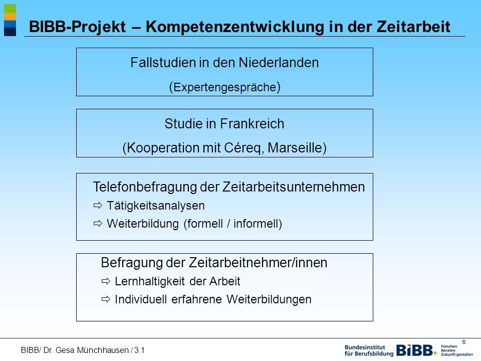 BIBB-Projekt – Kompetenzentwicklung in der Zeitarbeit
