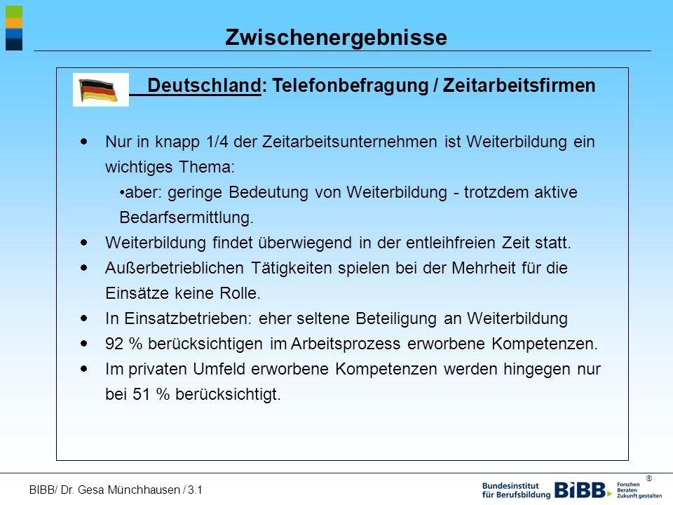Zwischenergebnisse Deutschland: Telefonbefragung / Zeitarbeitsfirmen