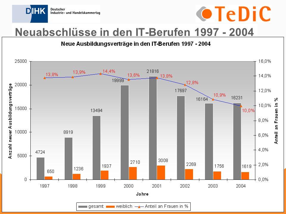 Neuabschlüsse in den IT-Berufen 1997 - 2004