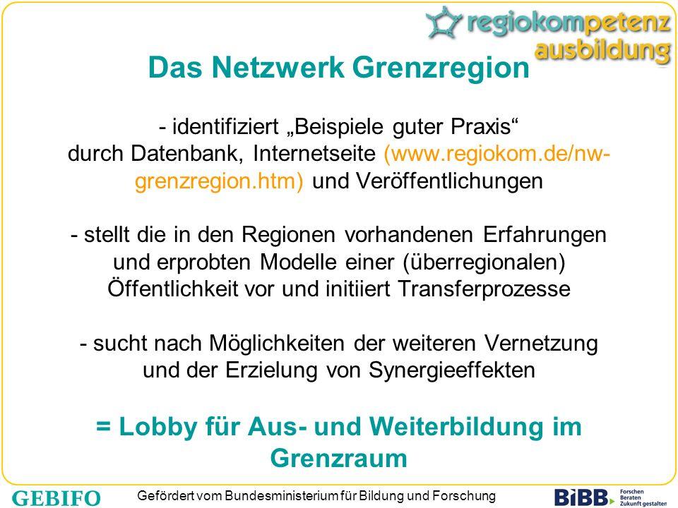 """Das Netzwerk Grenzregion - identifiziert """"Beispiele guter Praxis durch Datenbank, Internetseite (www.regiokom.de/nw-grenzregion.htm) und Veröffentlichungen - stellt die in den Regionen vorhandenen Erfahrungen und erprobten Modelle einer (überregionalen) Öffentlichkeit vor und initiiert Transferprozesse - sucht nach Möglichkeiten der weiteren Vernetzung und der Erzielung von Synergieeffekten = Lobby für Aus- und Weiterbildung im Grenzraum"""