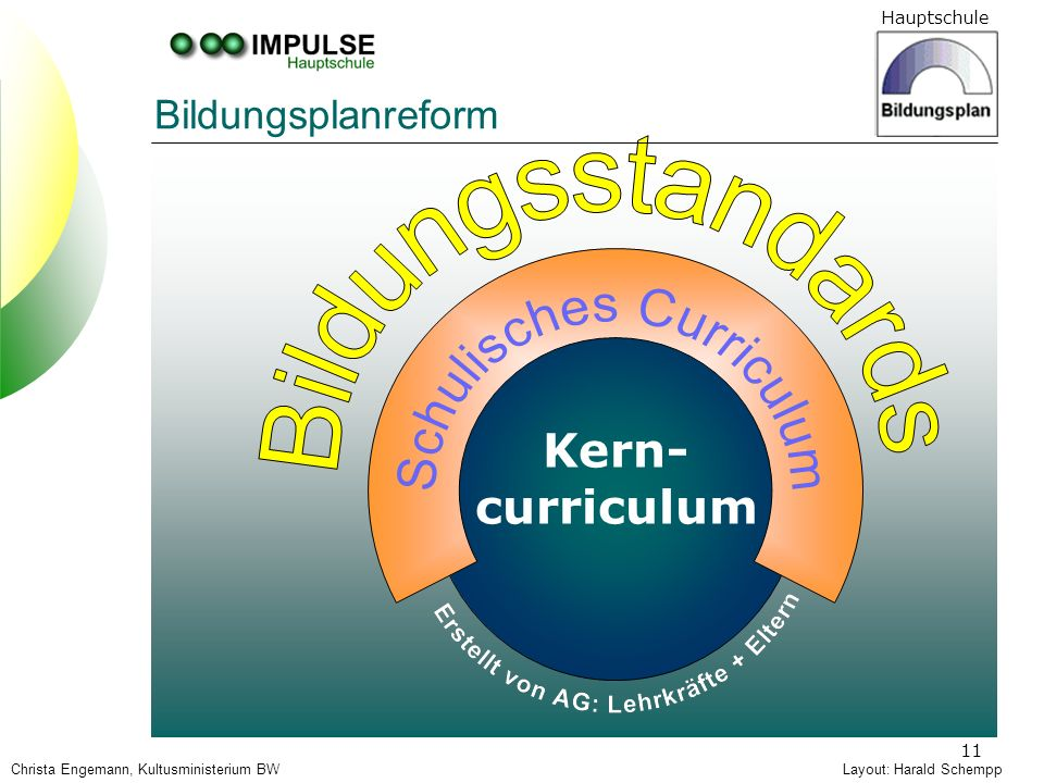 Bildungsstandards Kern- curriculum Bildungsplanreform