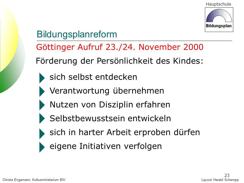 Bildungsplanreform Göttinger Aufruf 23./24. November 2000