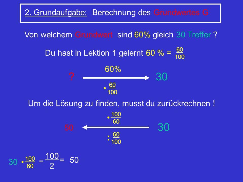 30 30 : 2. Grundaufgabe: Berechnung des Grundwertes G