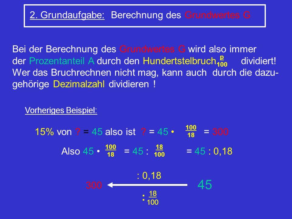 45 : 2. Grundaufgabe: Berechnung des Grundwertes G