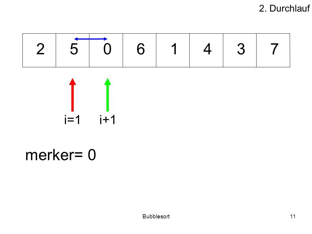 2. Durchlauf 2 5 6 1 4 3 7 i=1 i+1 merker= 0 Bubblesort