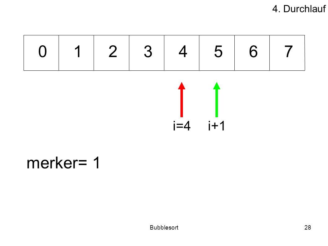4. Durchlauf 1 2 3 4 5 6 7 i=4 i+1 merker= 1 Bubblesort