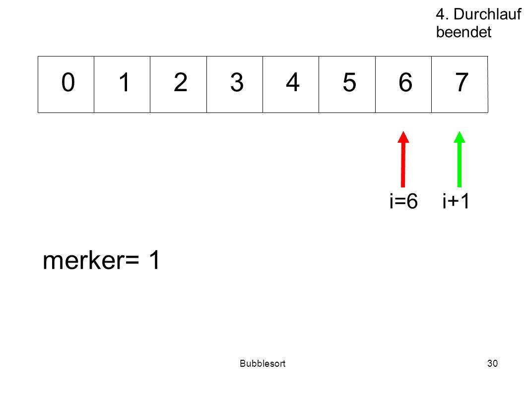 4. Durchlauf beendet 1 2 3 4 5 6 7 i=6 i+1 merker= 1 Bubblesort