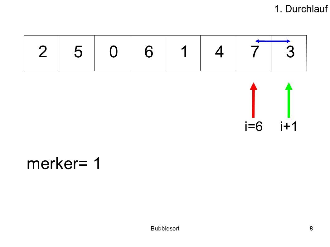 1. Durchlauf 2 5 6 1 4 7 3 i=6 i+1 merker= 1 Bubblesort