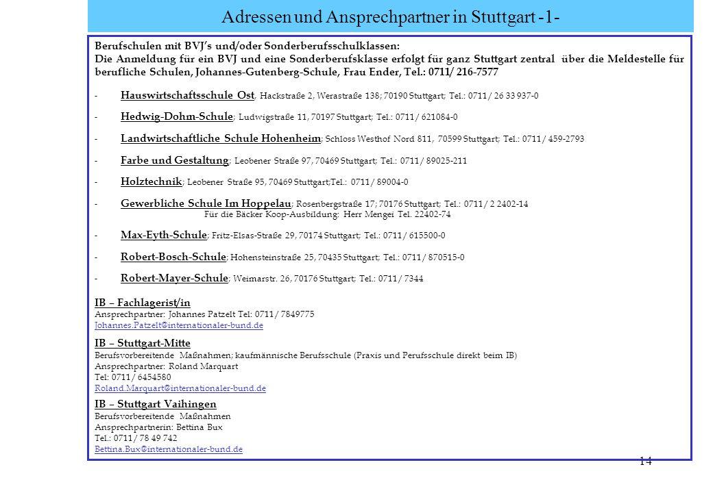 Adressen und Ansprechpartner in Stuttgart -1-