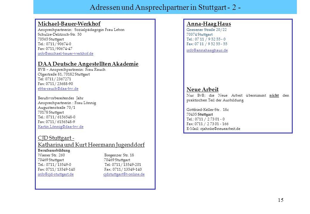 Adressen und Ansprechpartner in Stuttgart - 2 -