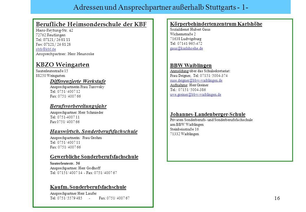 Adressen und Ansprechpartner außerhalb Stuttgarts - 1-