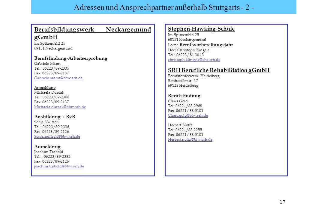 Adressen und Ansprechpartner außerhalb Stuttgarts - 2 -