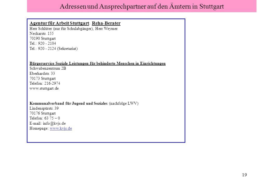 Adressen und Ansprechpartner auf den Ämtern in Stuttgart
