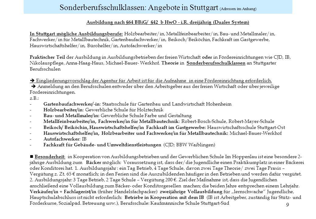 Sonderberufsschulklassen: Angebote in Stuttgart (Adressen im Anhang)