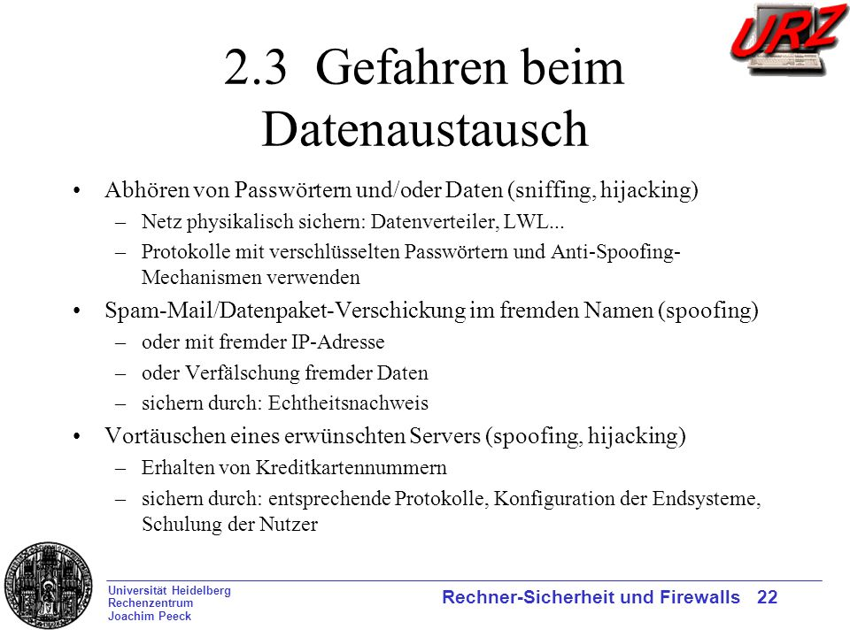 2.3 Gefahren beim Datenaustausch