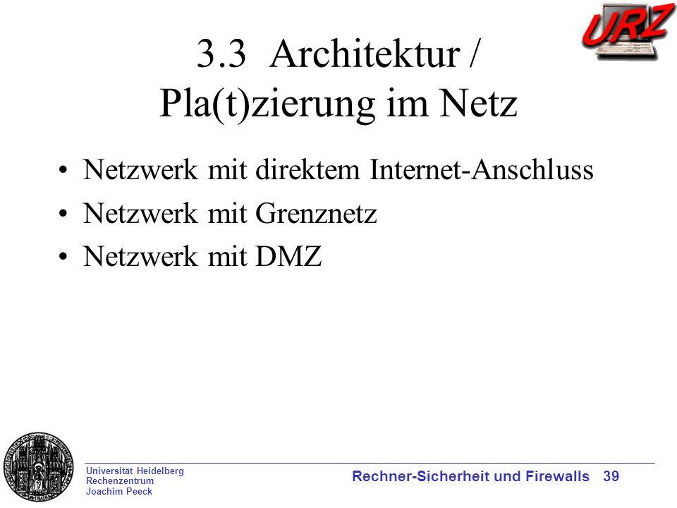 3.3 Architektur / Pla(t)zierung im Netz