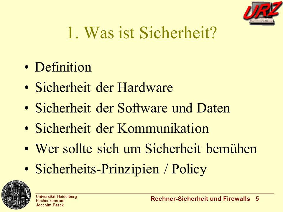 1. Was ist Sicherheit Definition Sicherheit der Hardware