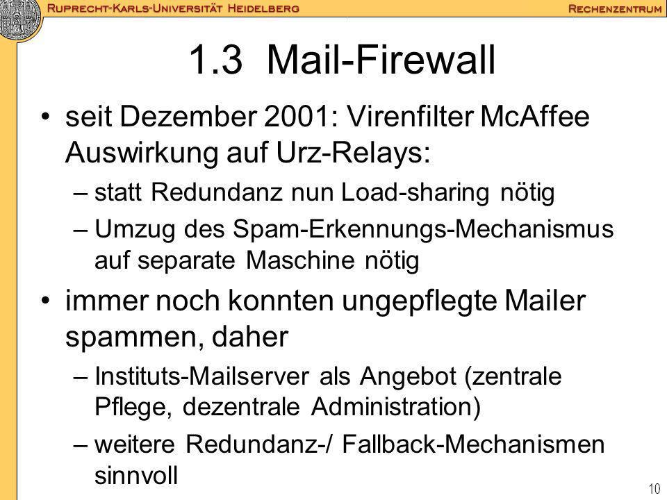 1.3 Mail-Firewallseit Dezember 2001: Virenfilter McAffee Auswirkung auf Urz-Relays: statt Redundanz nun Load-sharing nötig.